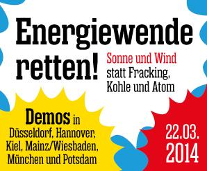 Ener­gie­wen­de ret­ten! Am 22. März: Demo in Hannover